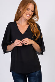Black Solid 3/4 Bell Sleeve Blouse