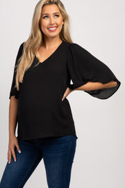 Black Solid 3/4 Bell Sleeve Maternity Blouse