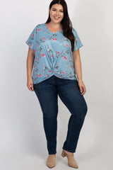 Light Blue Floral Knot Accent Plus Top