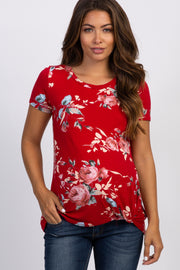 PinkBlush Red Floral Knotted Hem Maternity Top