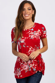 PinkBlush Red Floral Knotted Hem Top