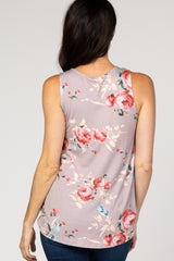 PinkBlush Taupe Floral Sleeveless Knot Top
