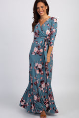 PinkBlush Blue Floral Wrap V-Neck Maternity Maxi Dress