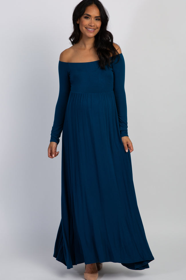 PinkBlush Petite Teal Solid Off Shoulder Maternity Maxi Dress