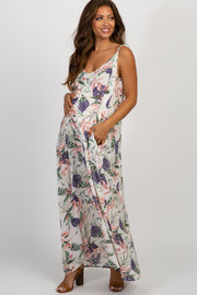 White Floral V-Neck Maternity Maxi Dress
