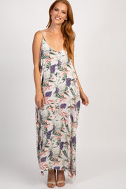 White Floral V-Neck Maxi Dress