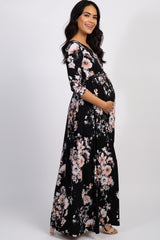 Black Floral Maternity Wrap Maxi Dress