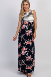 PinkBlush Navy Rose Striped Colorblock Maternity Maxi Dress