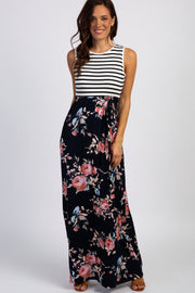 PinkBlush Navy Rose Striped Colorblock Maxi Dress