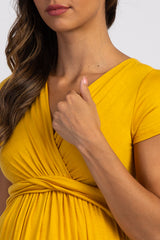 PinkBlush Gold Draped Front Maternity/Nursing Top