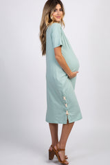 Mint Green Striped Lace Up Maternity Midi Dress