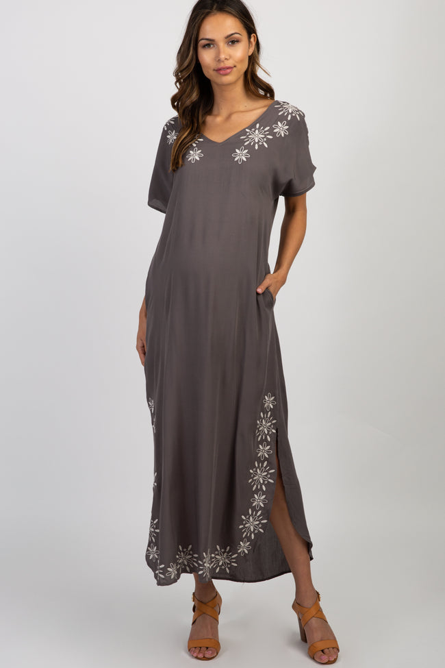 Charcoal Grey Embroidered Maternity Maxi Dress