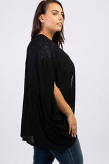 Black Solid Dolman Sleeve Plus Cardigan