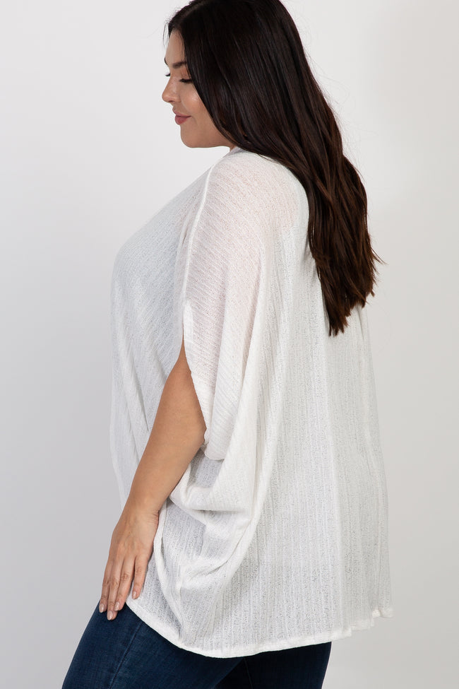 White Solid Dolman Sleeve Plus Cardigan
