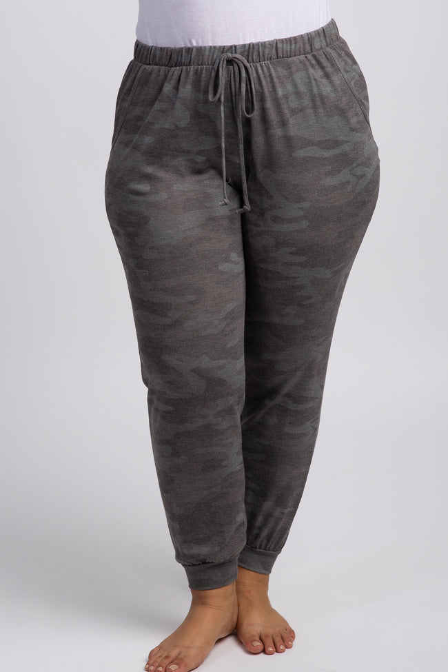 Grey Camo Drawstring Plus Sweatpants