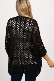 Black Oversized Crochet Lace Maternity Cardigan