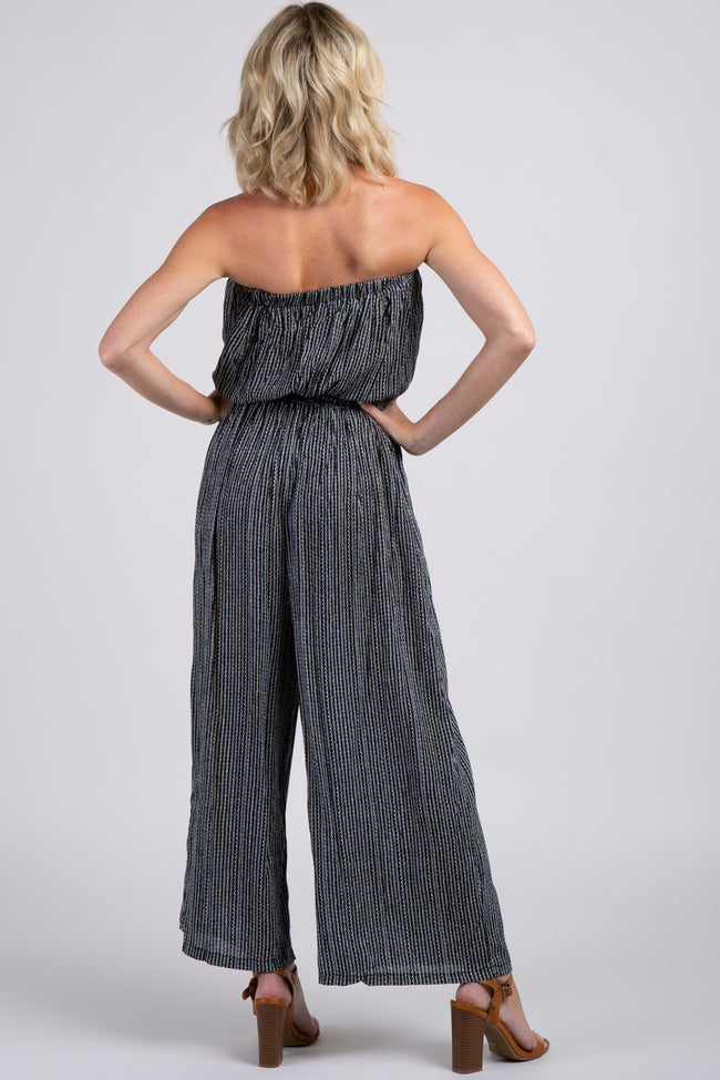 Black Pinstriped Sash Tie Strapless Jumpsuit
