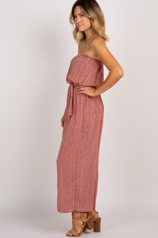 Rust Pinstriped Sash Tie Strapless Jumpsuit