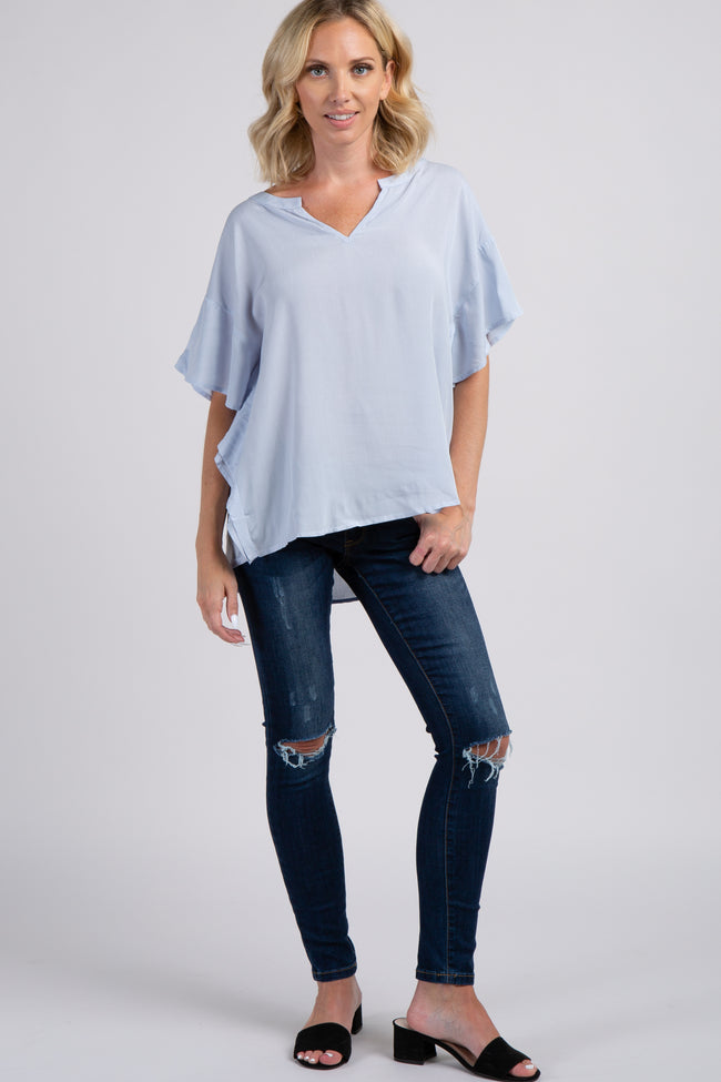 Light Blue Butterfly Sleeve Top