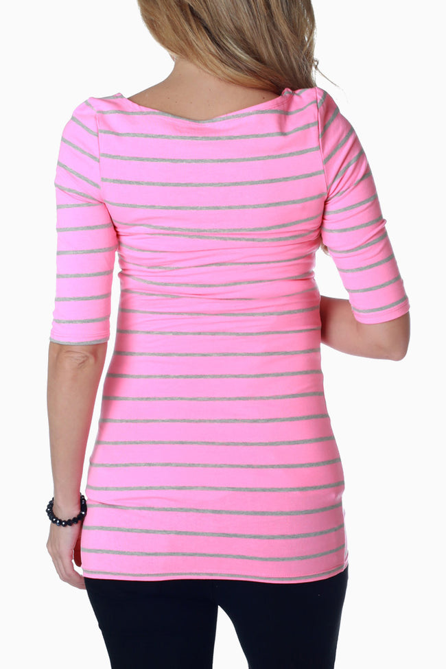 Neon Pink Grey Striped Fitted Maternity Top
