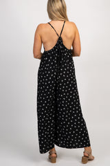 Black Printed Back Tie Wide Leg Maternity Jumpsuit