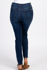 Blue High Waisted Button Fly Denim Jeans