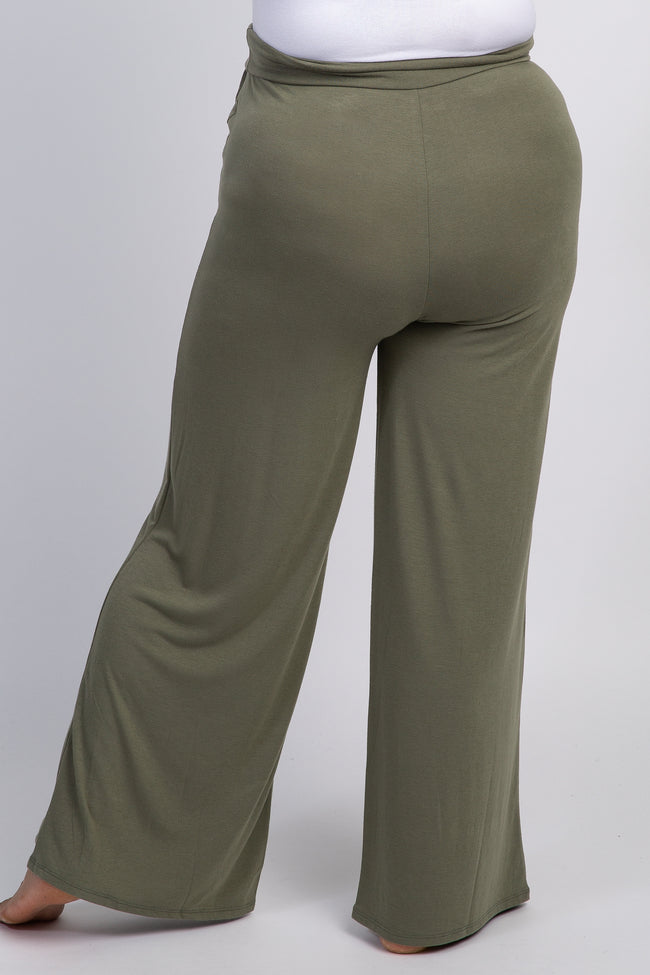 Light Olive Wide Leg Plus Maternity Lounge Pants