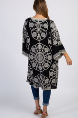 Black Embroidered 3/4 Sleeve Maternity Kimono