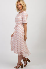 Light Pink Gingham Midi Dress