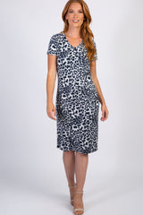 Grey Leopard Print V-Neck Maternity Dress