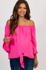 Fuchsia Off Shoulder Layered Sleeve Maternity Top