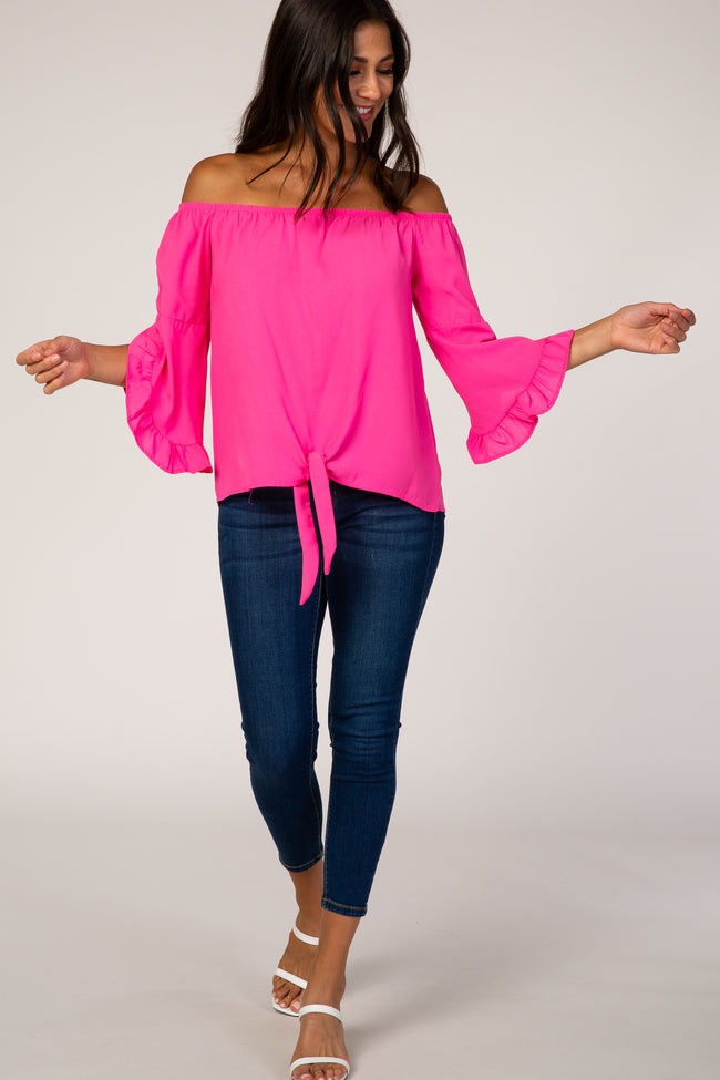 Fuchsia Off Shoulder Layered Sleeve Top