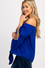 Royal Blue Off Shoulder Layered Sleeve Maternity Top