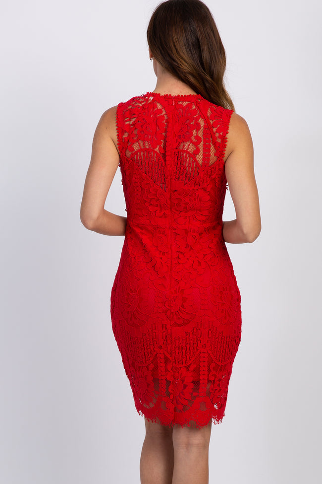 Red Lace Overlay Fitted Dress