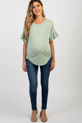 Mint Green Short Ruffle Sleeve Top