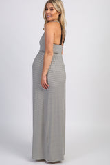 PinkBlush Ivory Striped Lace Back Maternity Maxi Dress