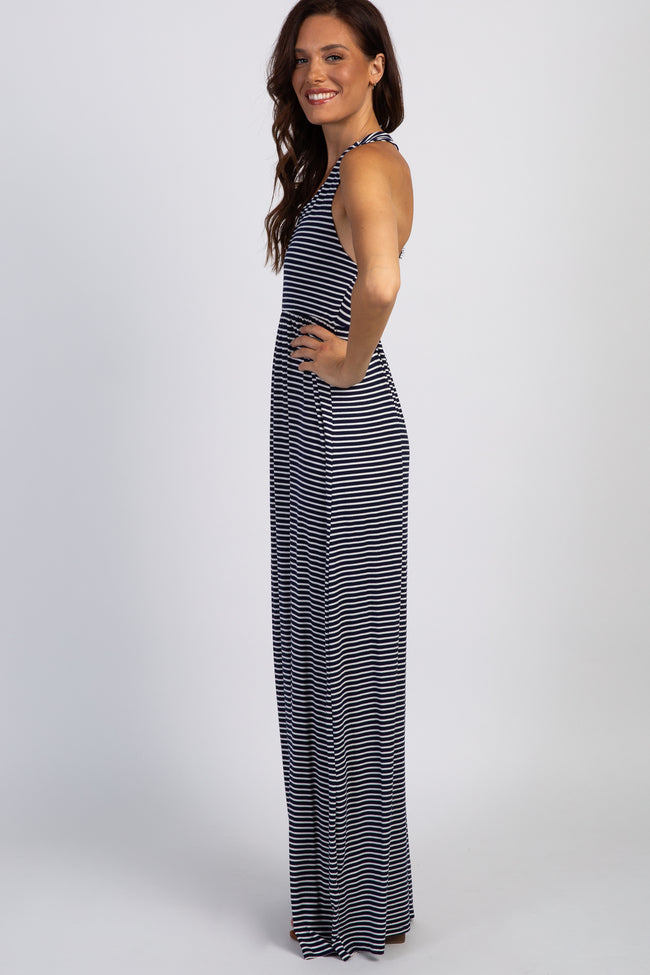 PinkBlush Navy Blue Striped Lace Back Maxi Dress