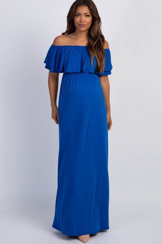 Royal Blue Off Shoulder Ruffle Trim Maternity Maxi Dress