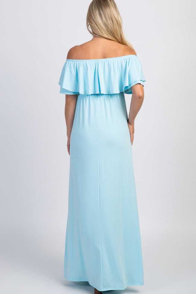 PinkBlush Light Blue Off Shoulder Ruffle Trim Maternity Maxi Dress