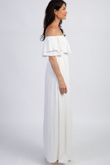 PinkBlush Ivory Off Shoulder Ruffle Trim Maternity Maxi Dress