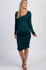 PinkBlush Forest Green Ruched Long Sleeve Maternity Dress