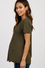 Olive Green Solid Scalloped Trim Maternity Top