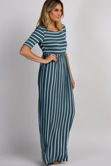 PinkBlush Dusty Green Striped Half Sleeve Maxi Dress
