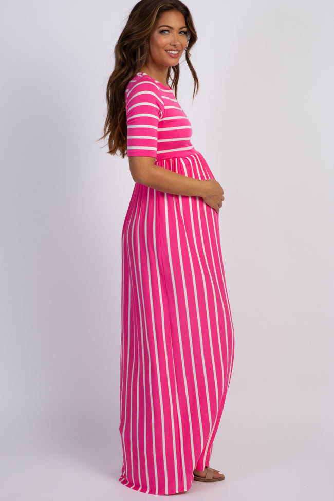 PinkBlush Fuchsia Striped Half Sleeve Maternity Maxi Dress