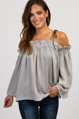 Grey Off Shoulder Tie Strap Satin Top