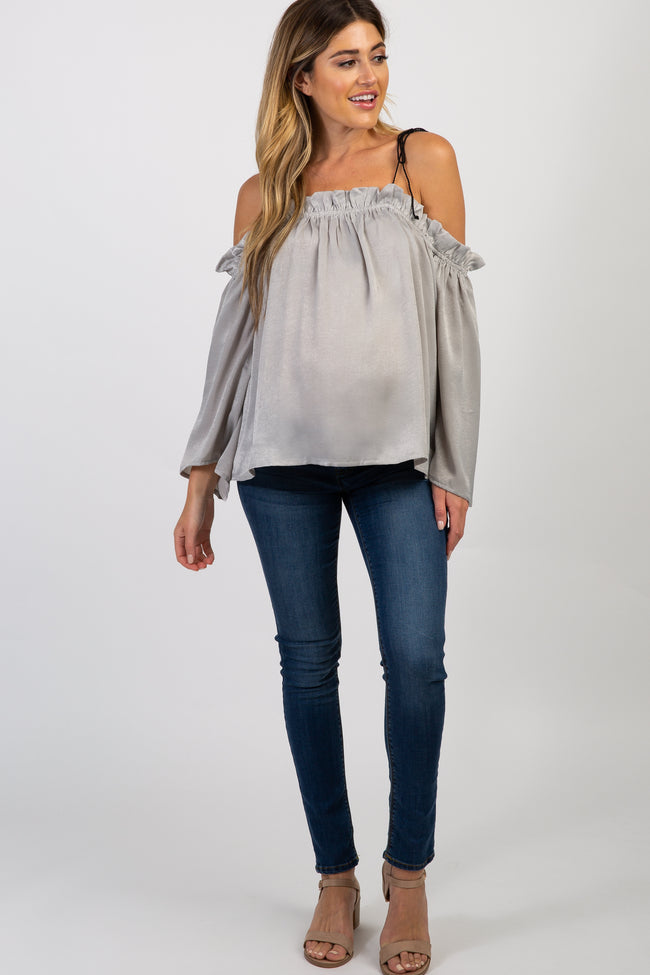 Grey Off Shoulder Tie Strap Satin Maternity Top