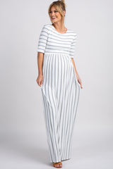 PinkBlush Heather Grey Striped Half Sleeve Maxi Dress