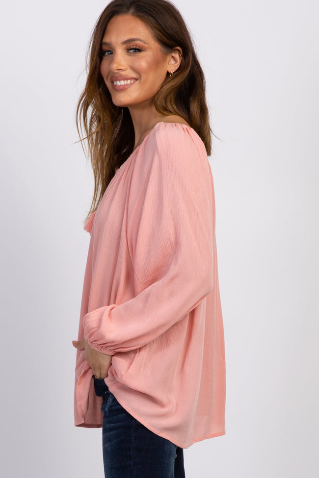 Light Pink Tassel Tie Front Maternity Blouse