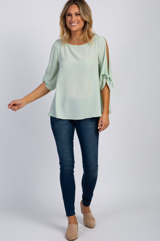 Mint Green Solid Cutout Sleeve Tie Top