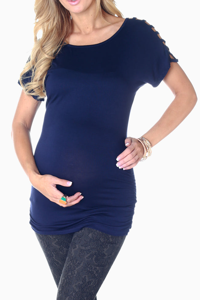 Navy Blue Open Sleeve Maternity Top